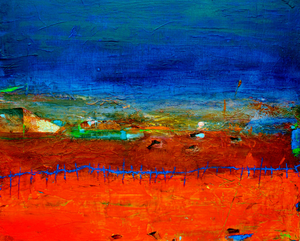 Orange Field with Blue Fence (Sold)