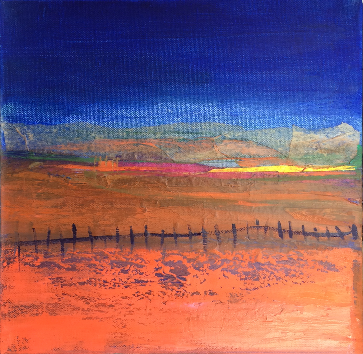 Blue and Orange Landscape with Fence